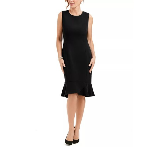 Kasper Scalloped-Hem Women's Sleeveless Dress Black Size 12