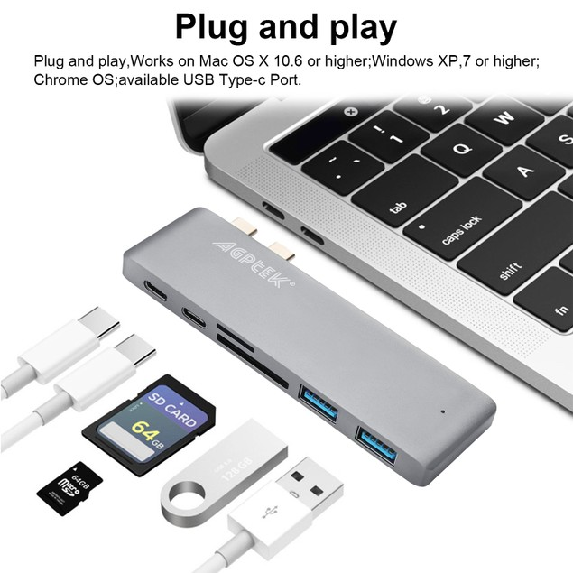 6in1 Type-C USB Hub Adapter Dual USB 3.0 Port Thunderbolt 3 for MacBook Pro