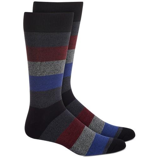 Perry Ellis Men's Rugby-Stripe Socks Black Size Regular