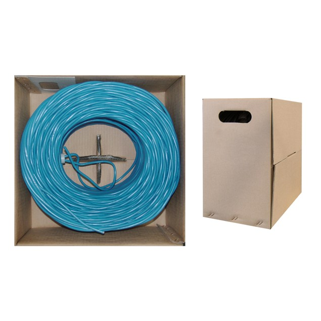 Bulk Cat6 Blue Ethernet Cable, Solid, UTP  Pullbox, 1000 foot
