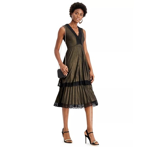 Taylor Women's Dresses Pleated Double Tiered Dress Metallic Black Size 4
