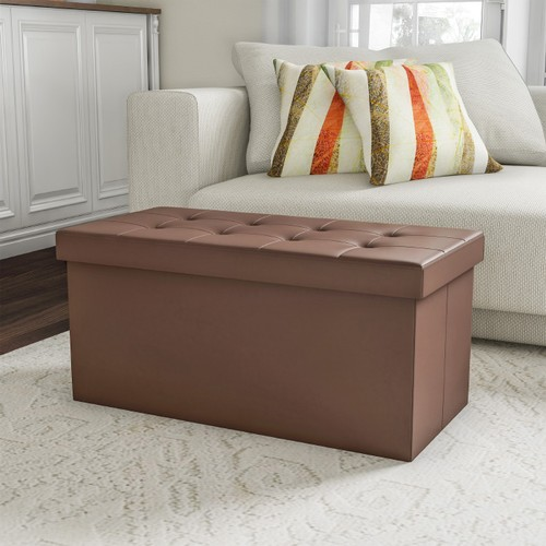 Folding Storage Bench Ottoman 30 in. Faux Brown Leather