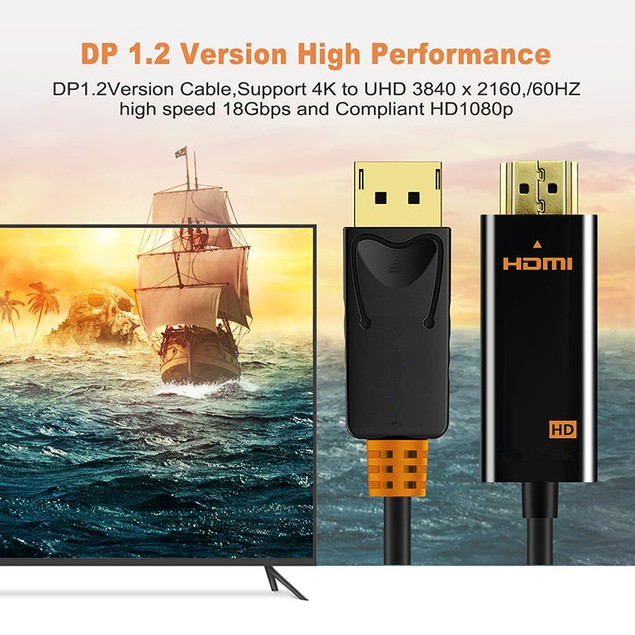 Display Port To HDMI Cable 1080P HD 4K 30hz Converter
