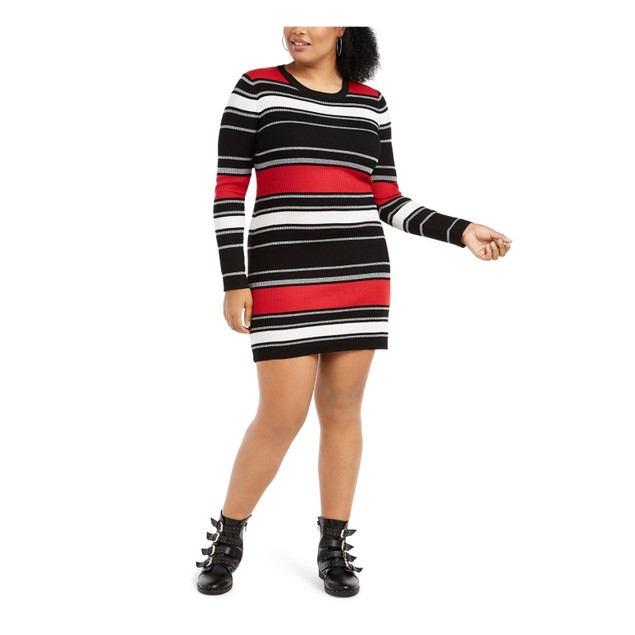 Planet Gold Juniors' Plus Size  Striped Sweater Dress Black Size 1X