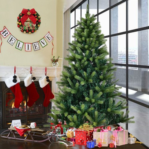 Costway 4ft5ft6ft7ft Artificial Christmas Tree Solid Metal Legs
