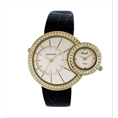 Charles Delon Women's Watches 5227 LACB Black/Gold Leather Quartz Round Analog