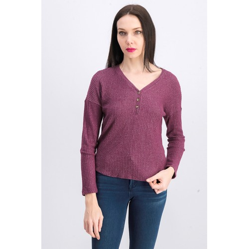 Hippie Rose Juniors' Henley Waffle Knit Top Purple Size Extra Large