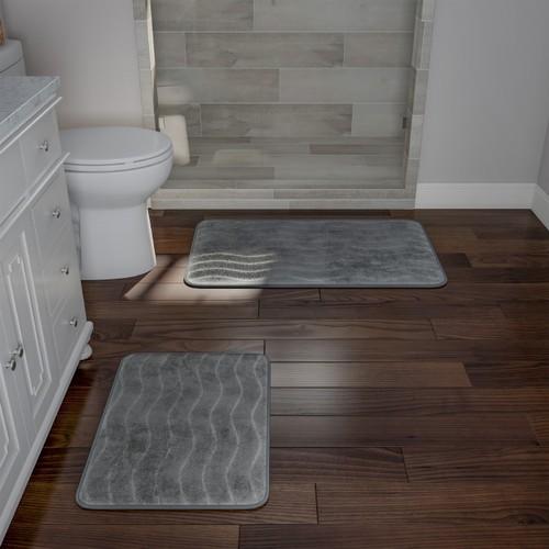 Bathroom Rug Set- 2-Piece Memory Foam Bath Mats- Wavy Microfiber Top