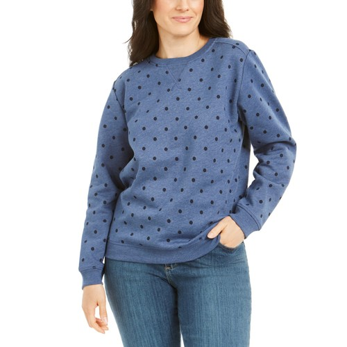 Karen Scott Women's port Dot Print Sweatshirt  Blue Size Extra Small