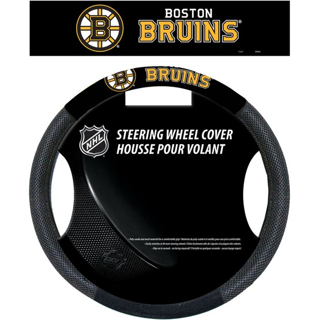 Boston Bruins Steering Wheel Cover NHL Hockey Team Logo Poly Mesh