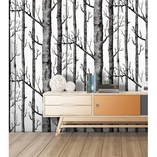 "Birch Tree Self Adhesive Wallpaper Wood Peel and Stick 17.7""x 19.7ft"