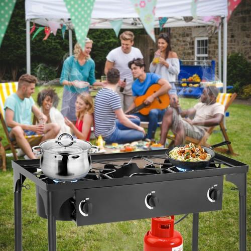Goplus Portable Propane 225,000-BTU 3 Burner Gas Cooker