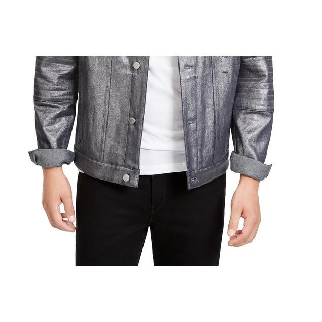 Michael Kors Women's Silver Metallic Denim Biker Jacket Silver Size Large