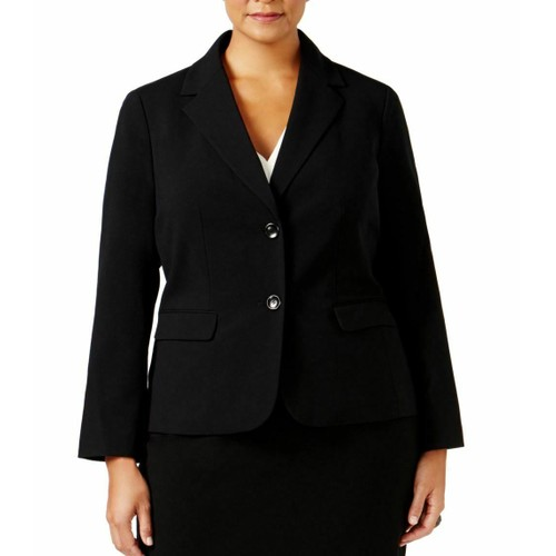 Nine West  Women's Plus Solid Stretch Blazer Jacket  Black  Size 24W