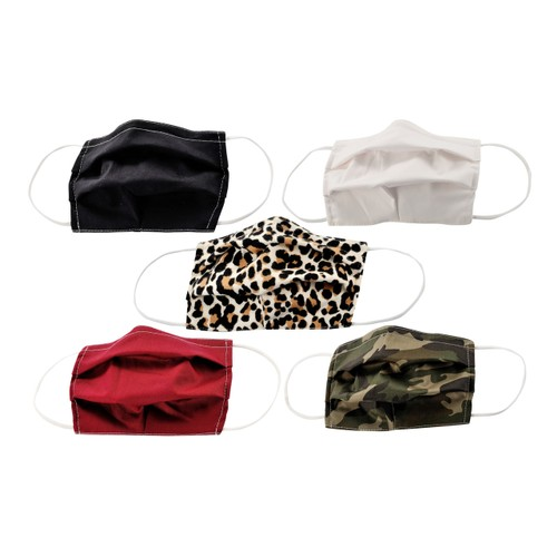 5-Pack Adult Cotton Masks with Adjustable Nose Bridge