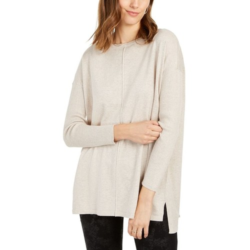 Style & Co Women's Plus Size Seam-Front Tunic Sweater Brown Size XX-Large