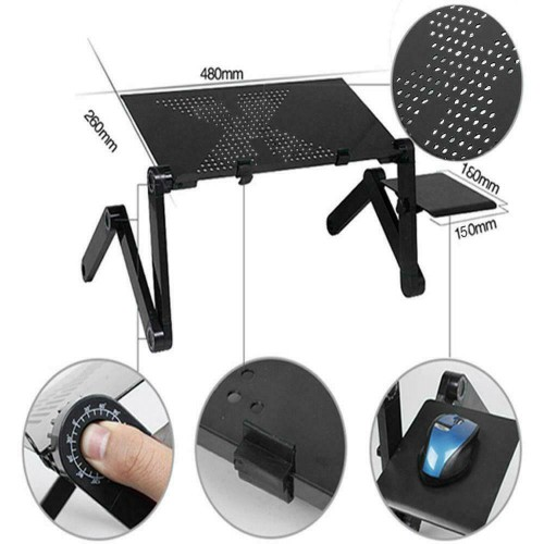 New 360��_Adjustable Foldable Laptop Desk Aluminum Table Stand Bed Note