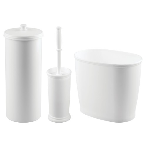 mDesign Plastic Bathroom Storage and Accessory Set - 3 Pieces - White