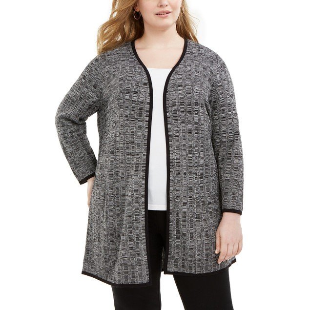 Alfani Women's Plus Size Textured Cardigan Gray Size 2 Extra Large