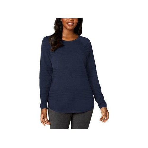 Karen Scott Women's Ribbed Cotton Pullover Sweater Blue Size Extra Large