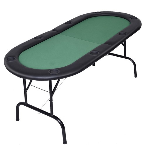 Costway Foldable 8 Player Poker Table Casino Texas Holdem Folding Poker Pla