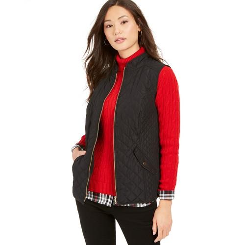 Charter Club Women's Petite Zip-Front Quilted Cotton Vest Black Size Petite