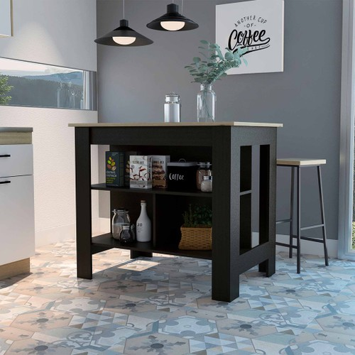 Brooklyn Kitchen Island, Black Wengue, Surface Color Light Oak- with 3 uncovered shelves