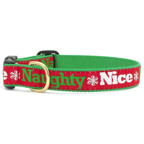 """Up Country Naughty and Nice Holiday Dog Collar- M (12-18""""); Wide 1"""""""