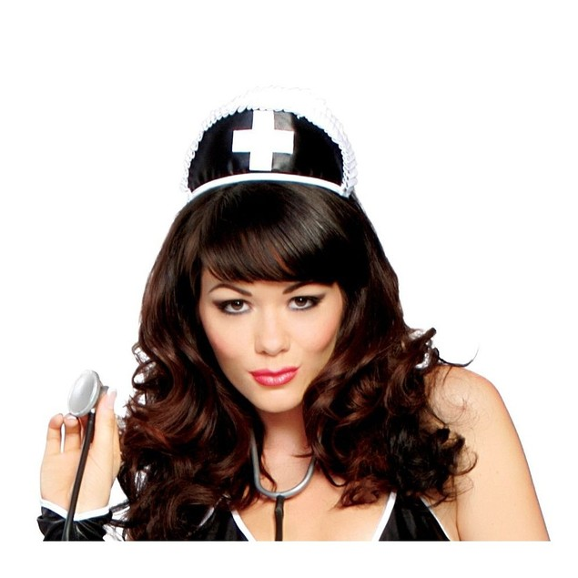 Black Nurse Hat With Cross Sexy Roma Hospital Doctor Dr Medical Naughty