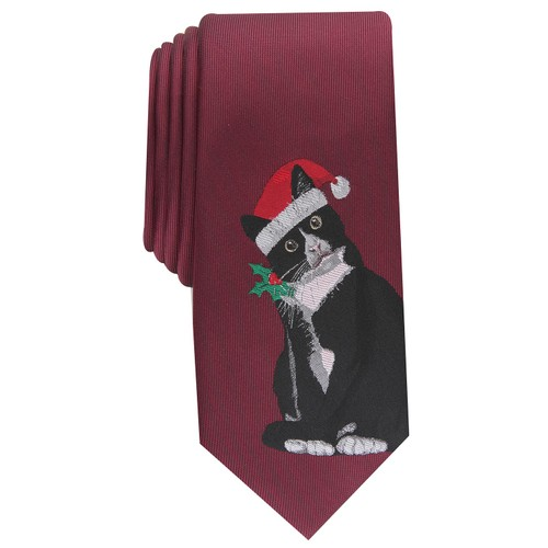 Bar III Men's Mittens The Kitten Skinny Holiday Tie Wine One Size