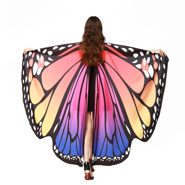 Women Butterfly Wings Shawl Scarves Nymph Pixie Poncho Costume Accessory