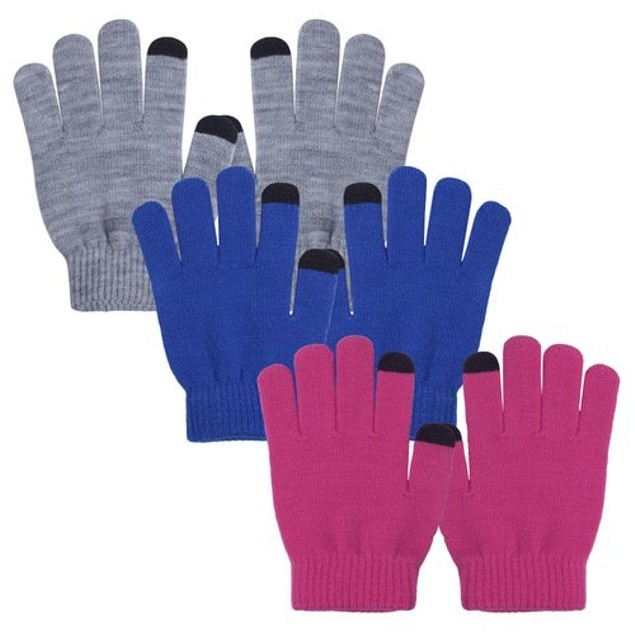Evridwear 3 Pairs Boys Girls Touchscreen Thermal Knit Magic Gloves