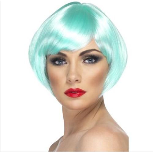 Babe Wig Aqua Short Bob with Fringe Costume Halloween Accessory Womens