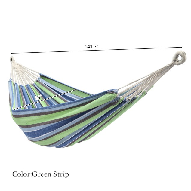 6 Colors 200*150cm Portable Polyester & Cotton Hammock With Two 2M Tie Ropes Back Bag