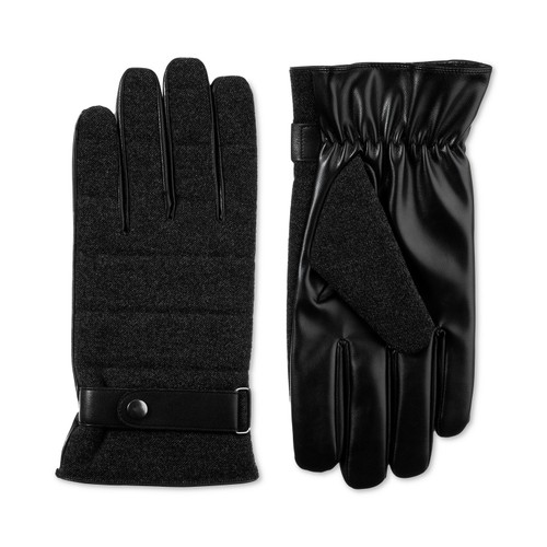 Isotoner Signature Men's Faux-Wool Smartouch Gloves Black Size Medium