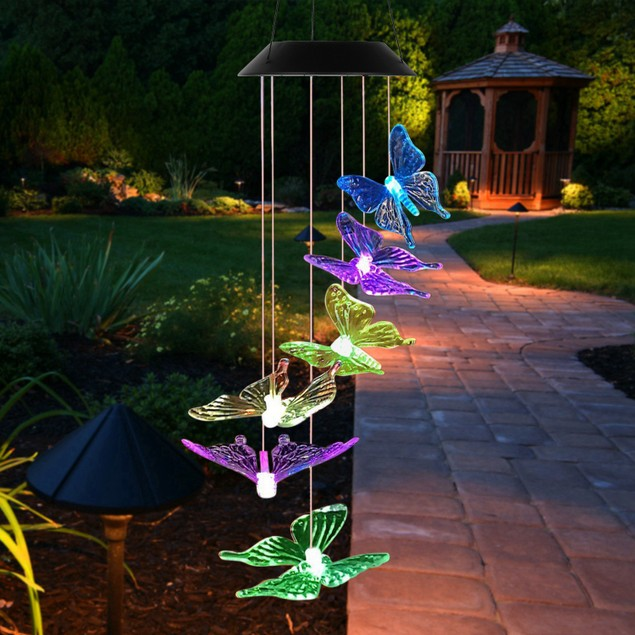 Solar LED Butterfly Wind Chimes Lamps Color Changing Lamp