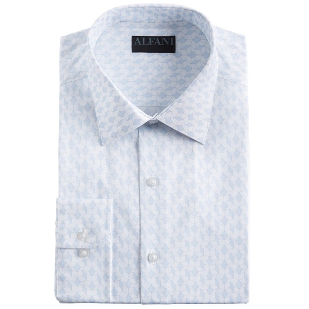 Alfani Regular Fit Performance Stretch Abstract Cube Dress Shirt 18x34-35