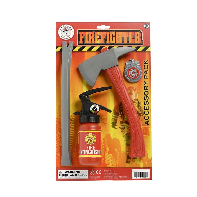 Firefighter Accessory Kit Kids Youth Costume Fireman  Crow Bar Ax Badge