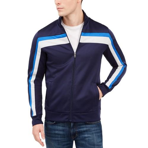 Club Room Men's Crossbody Stripe Track Jacket Dark Blue Size Large