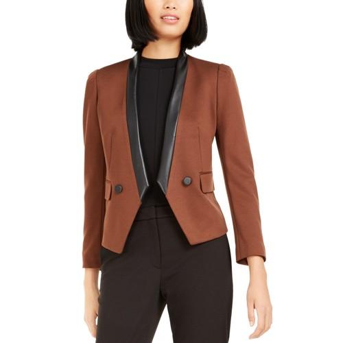 Bar III Women's Faux-Leather-Trim Blazer Brown Size 2