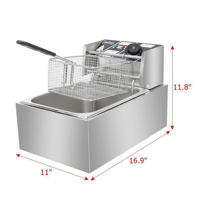 2500W 6L Commercial Electric Deep Fryer Restaurant Stainless Steel 6.3