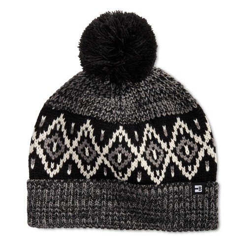 Block Hats Men's Ribbed Knit Air Isle Beanie with Pom Black One SIze