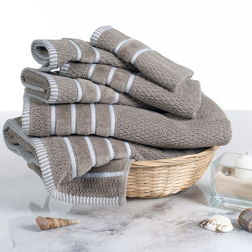 Combed Cotton Towel Set- Rice Weave 100% Combed Cotton 6 Piece Set  Taupe