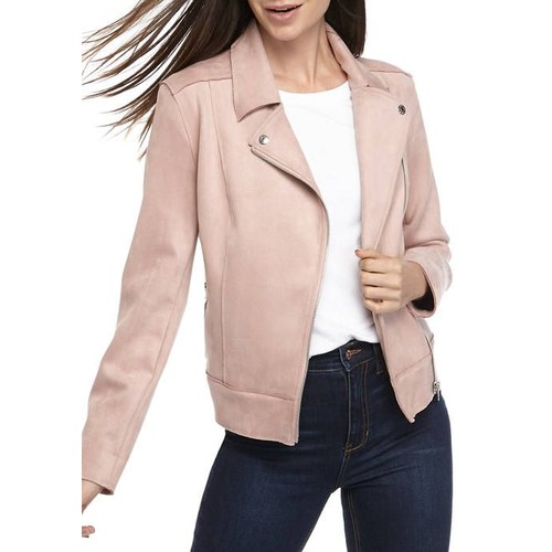 Calvin Klein Women's Faux-Suede Jacket Pink Size Extra Small