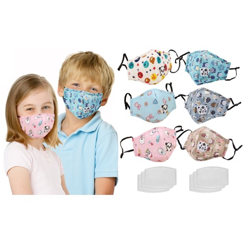 3-Pack Kids' Reusable Cotton Face Masks with Filters