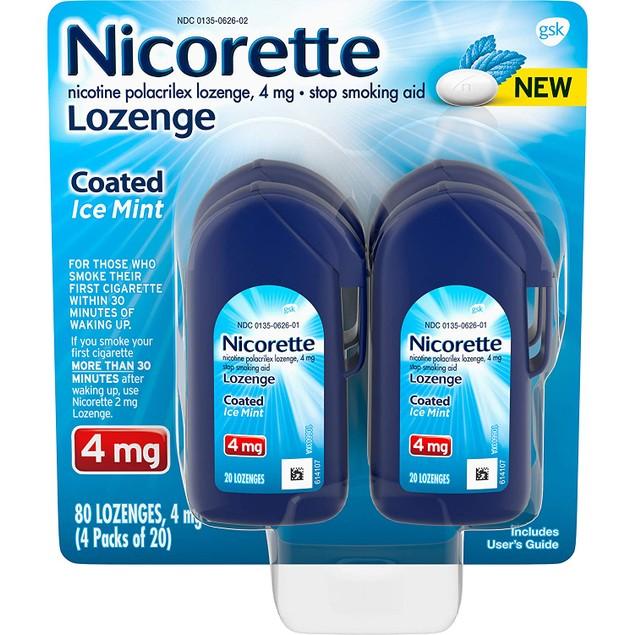 Nicorette Coated Nicotine Lozenge Stop Smoking Aid, Ice Mint Tablet, 20 Ct