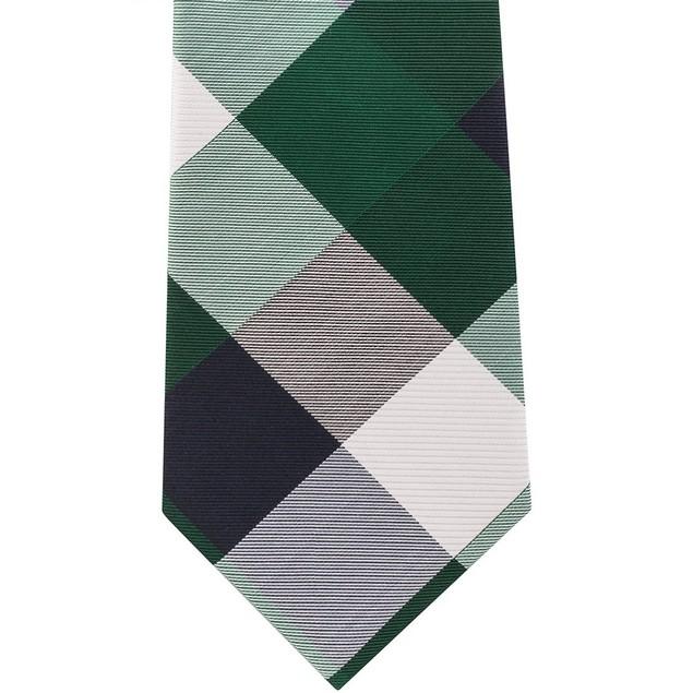 Tommy Hilfiger Men's Bold Plaid Silk Tie Blue Size Regular