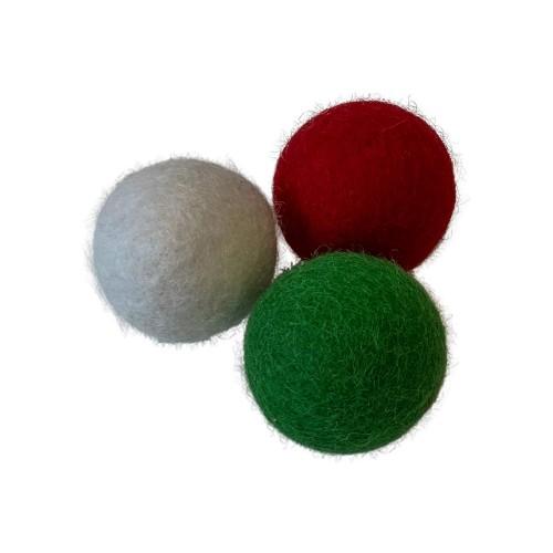 Midlee Wool Felt Ball Christmas Cat Balls- Set of 3