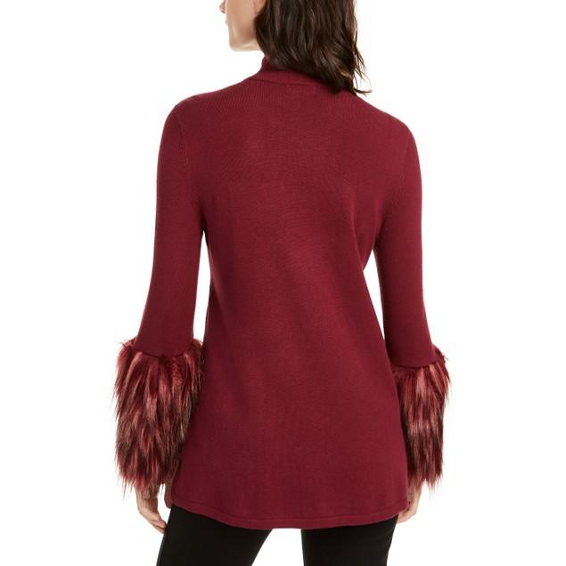 Alfani Women's Faux-Fur-Cuff Mock-Neck Sweater Dark Wine Size Extra Large