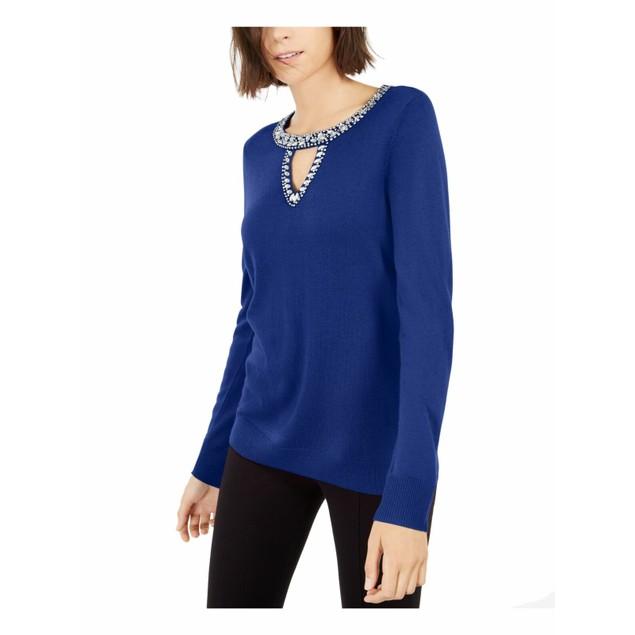INC International Concepts Wo Embellished Keyhole Sweater Blue Small